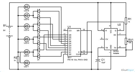 Dancing Leds Circuit Diagram Using Timer