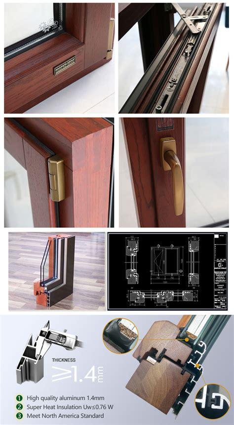 dubai solid wood aluminum tilt  opening casement window  vill wood aluminium doors
