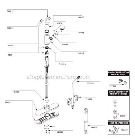 Moen Kitchen Faucet Parts List by Moen 7560w Parts List And Diagram After 1 11 Moen 2 Handle