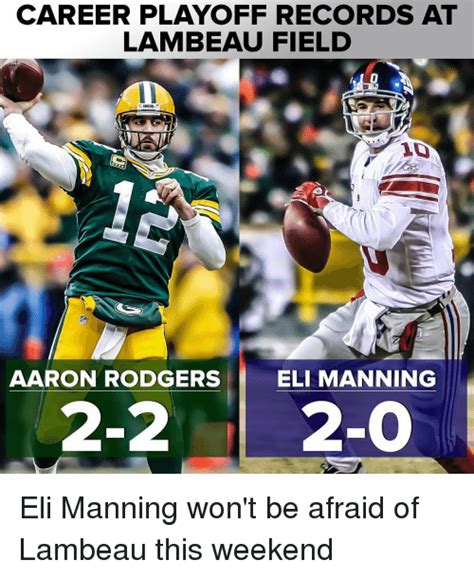 career playoff records  lambeau field aaron rodgers eli