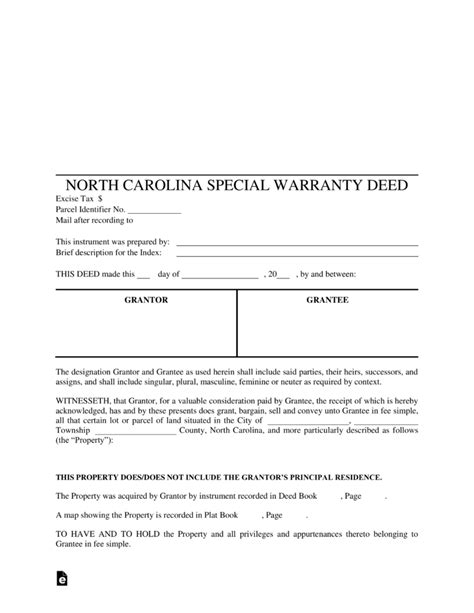 free small estate affidavit form north carolina free north carolina special warranty deed form pdf