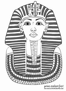 King tutankhamun39s mask coloring page print color fun for King tut mask template