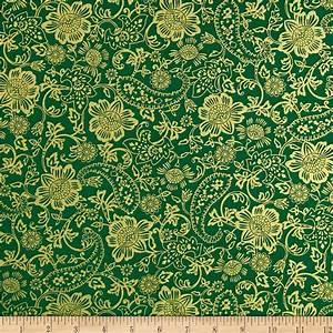 Kanvas Deck the Halls Metallic Tapestry Floral Green
