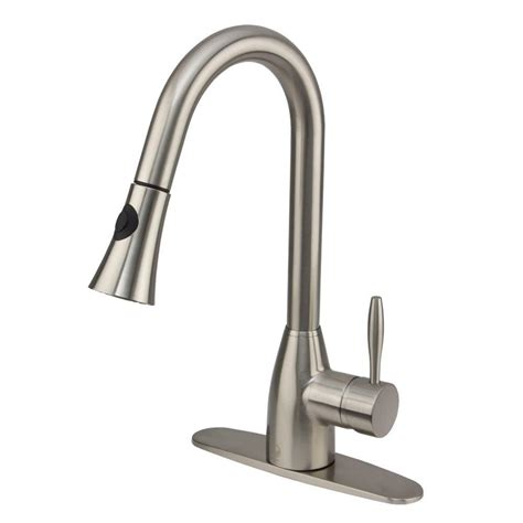 vigo single handle pull out sprayer kitchen faucet with deck plate in stainless steel