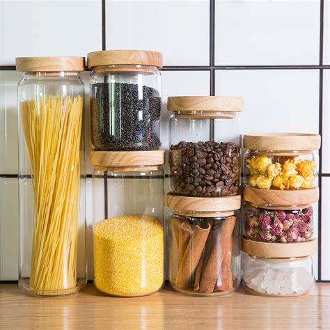 kitchen glass storage jars japan zakka style glass spice jar kitchen canisters cookie 4916