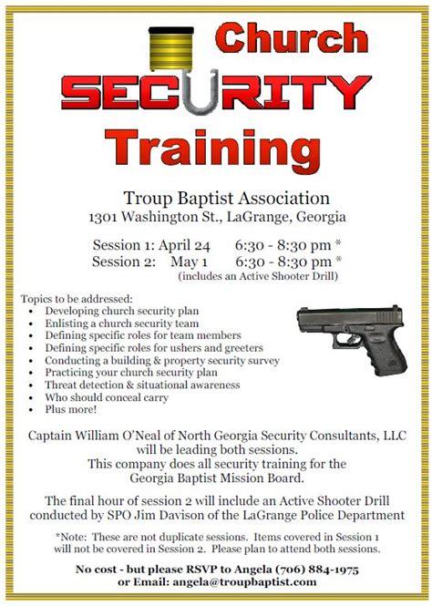 church security training troup baptist association