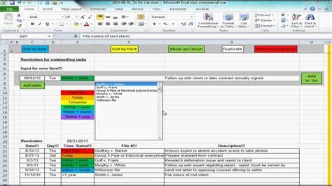 excel spreadsheet providing list  reminders future