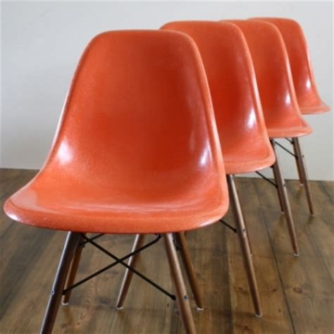 eames herman miller dsw side chairs in orange lovely and