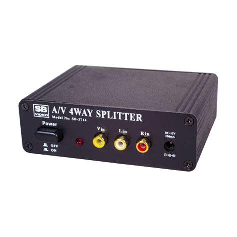 4 way stereo audio composite video av splitter distribution lifier ebay
