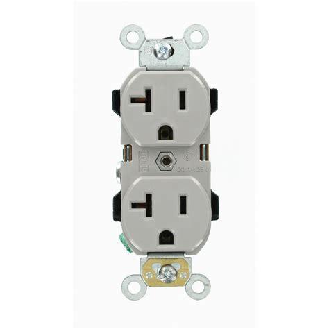 leviton  amp duplex outlet gray   gs