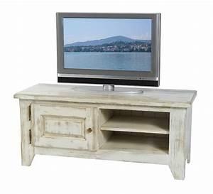 meuble tele pin massif ceruse blanc 1 porte 2 niches solea With meuble salle de bain ceruse blanc