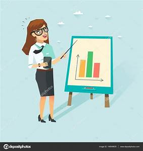 Smart Business Woman With Cup In White Shirt Showing Diagrams  Teacher With Glasses Showing