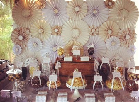 Cream, Gold And Brown Chocolate Buffet Wedding Party Ideas
