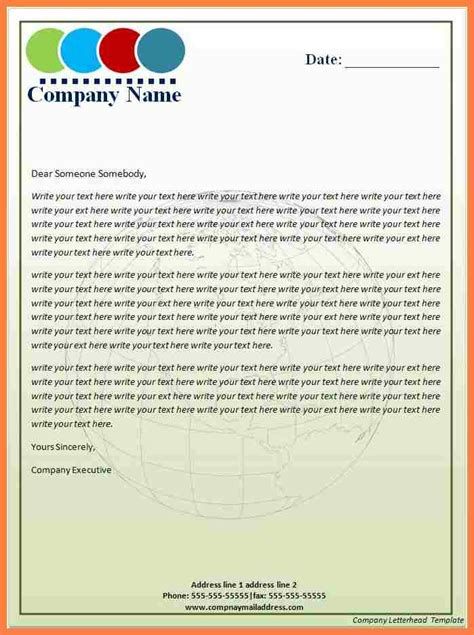 company headed letter template company letterhead