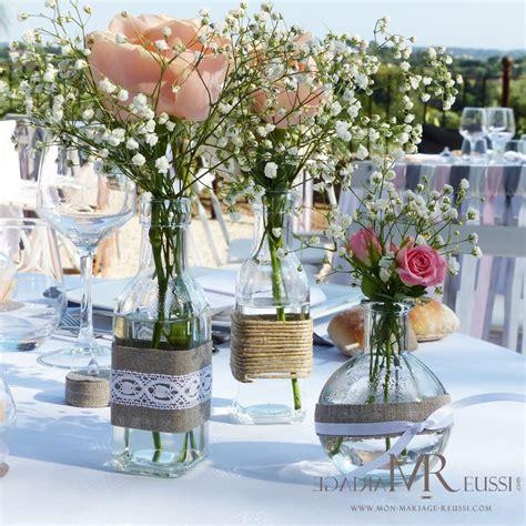 deco table mariage chetre chic centre de table mini vases en verre vase bouteille huile et vase bouteille 224 la mer dentelle