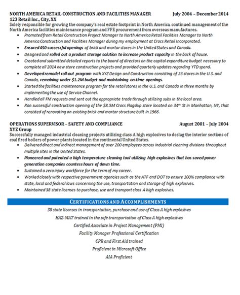 Facility Manager Resume by Facilities Manager Resume Exle Construction Projects
