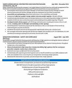 Maintenance Resume Example Facilities Manager Resume Example Construction Projects