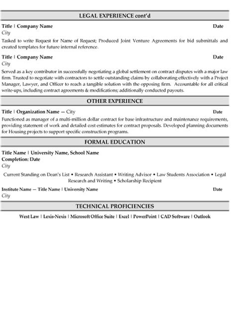 associate attorney resume sle 28 images personal