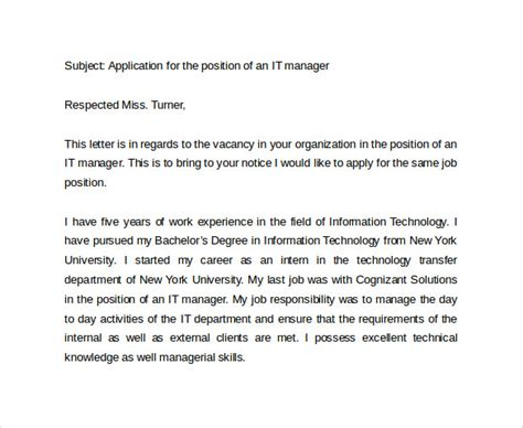 Cover Letter For It Manager Application by 8 Sle It Cover Letter Templates Sle Templates