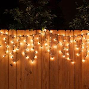 Hang Christmas Lights Up Or Down White Icicle String Lights Along The Fence A Perfect
