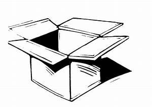 Cardboard Box Black And White Clipart