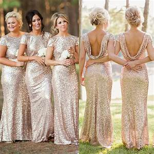 Champagne gold long bridesmaid dresses sequined short for Champagne gold wedding dress