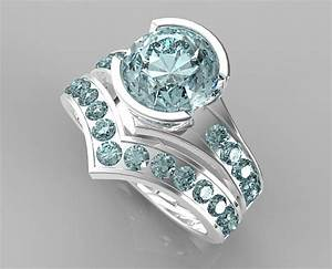 Unique style aquamarine wedding ring set vidar jewelry for Wedding rings aquamarine