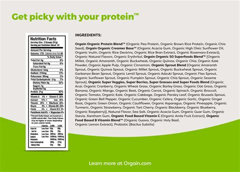 Orgain USDA Organic Plant Protein and Superfoods Powder, 2