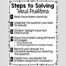 Steps To Solve Word Problems By Samantha Schury Tpt