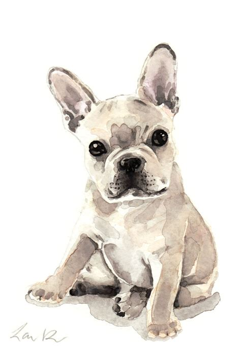 french bulldog puppy print watercolor painting frenchie