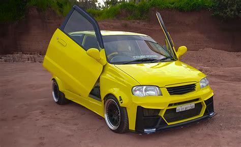 Alto Modified by Modified Maruti Alto Yellow Scissor Doors