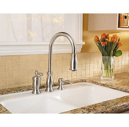 stainless steel hanover 1 handle pull kitchen faucet
