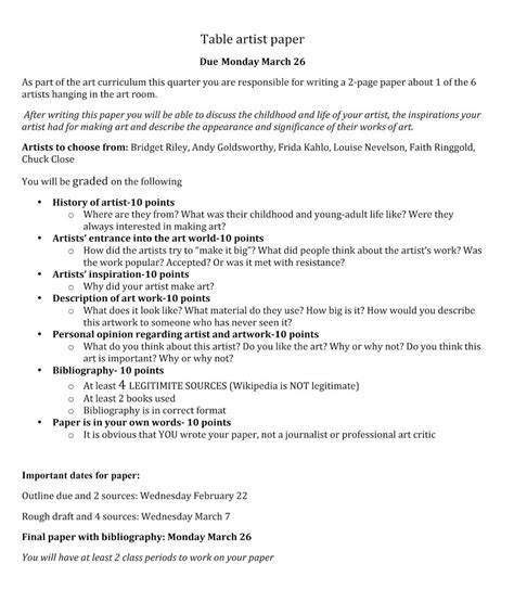 research paper art history outline  college template  museumlegs