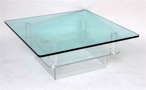 two tier glass coffee table two tier glass top lucite coffee table at 1stdibs