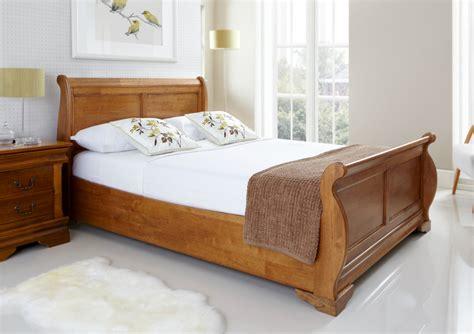 Louie Wooden Sleigh Bed Oak Finish Light Wood Wooden