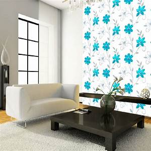Luciana Flower Floral Leaf Motif Pattern Blue White ...
