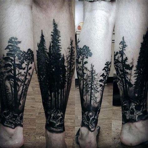 Skull With Trees Forest Tattoos For Men Lower Leg