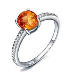orange wedding rings 1 carat orange sapphire and anituqe engagement ring in white gold jewelocean