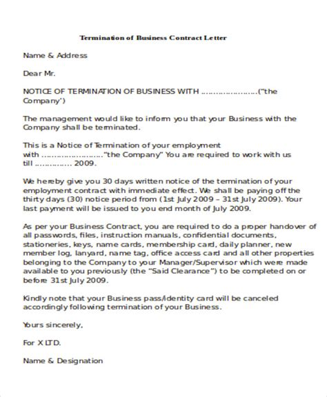 sample termination  business letters  word