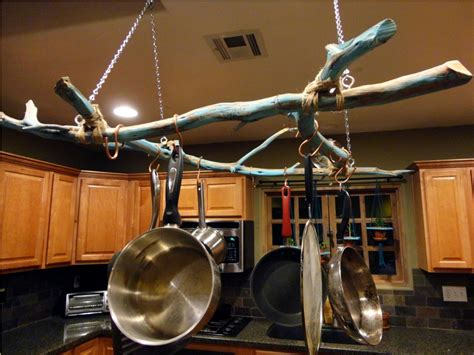 kitchen diy pots and pans rack design ideas made from wooden material with recessed lighting