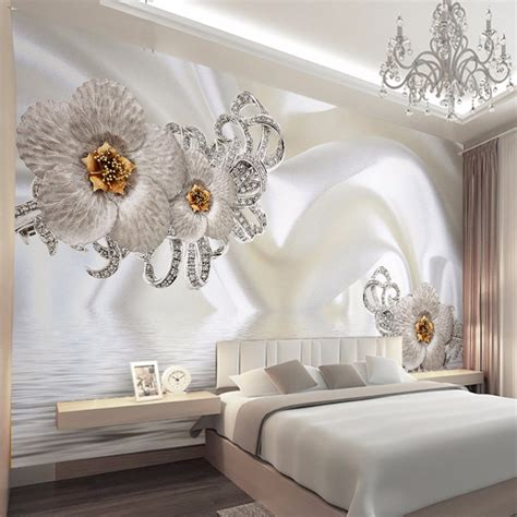 Decorating your living room walls can be quite a difficult task. Custom Mural Wallpaper Modern Silk Cloth Diamond Large Wall Painting Wall Art Mural For Living ...