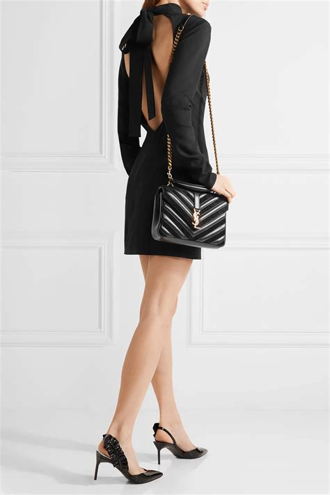 lyst saint laurent college medium quilted leather  suede shoulder bag  black