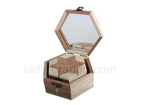 hexagon shaped wooden jewel boxes