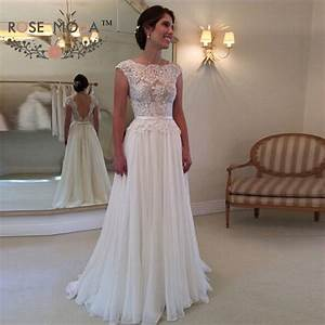 chic cap sleeves bateau neck lace corset chiffon beach With lace corset wedding dresses