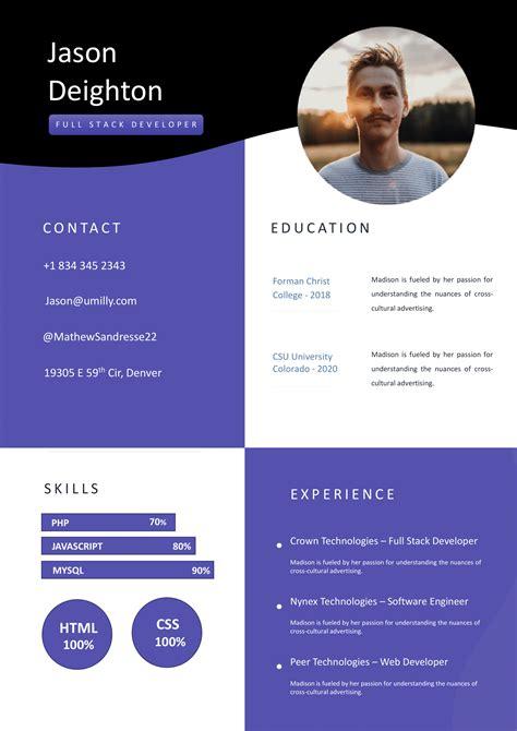 resume template  full stack developer  cover letter