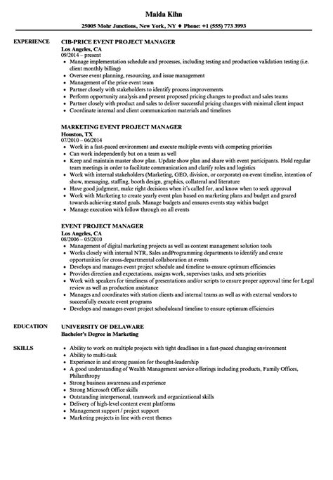 Project Manager Skill Set Resume by Event Project Manager Resume Sles Velvet