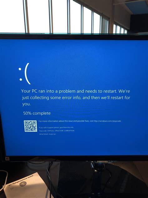 windows 10 blue screen error stop code critical structure corruption user