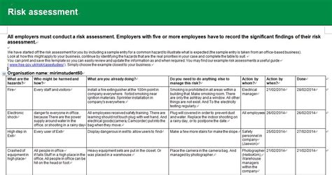 21790 risk assessment form sle sle security risk assessment report 28 images sle