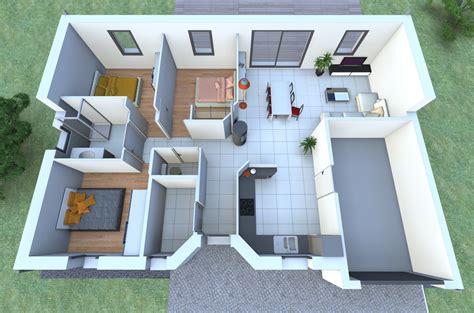 chambre intervilleuse plan maison plain pied 2 chambres 3d maison moderne