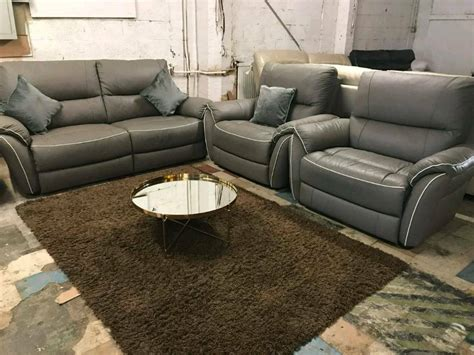 grey leather settee new leather grey 3 seatee sofa 2 arm chairs settee